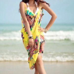 YELLOW BEACH cover up bathing suit wrap DRESS swim
